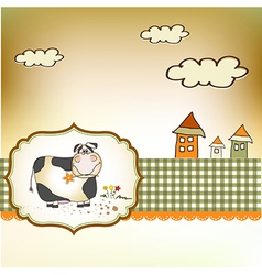 Cute happy cow vector