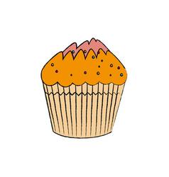 Delicious cupcake sweet icon vector