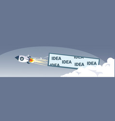 Flying space ship rocket with idea banner new vector