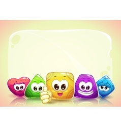 Funny background with cute shape characters vector