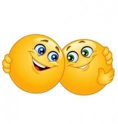 hugging emoticons vector image vector image