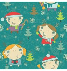 kids Christmas pattern vector image