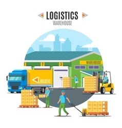 Logistic warehouse template vector