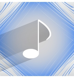 Music elements notes web icon on a flat geometric vector image