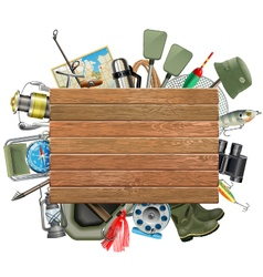 Old Wooden Board with Fishing Tackle vector image vector image
