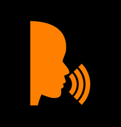 people speaking or singing sign orange icon on vector image vector image