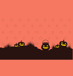 pumpkin on hill halloween style background vector image