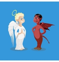 Religion characters kind angel and cruel devil vector