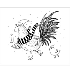Rooster and chicken on skates freehand drawn vector image