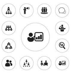 Set of 12 editable team icons includes symbols vector