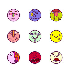 Set of colorful face expression icons vector