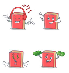 Set of red book character with listening call me vector