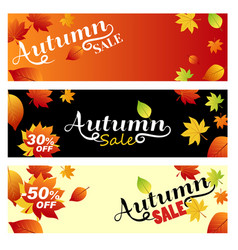 set sale autumn bright banners on light orange vector image vector image