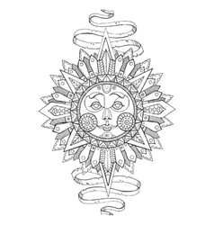 Sun with face drawing coloring book for adults vector image