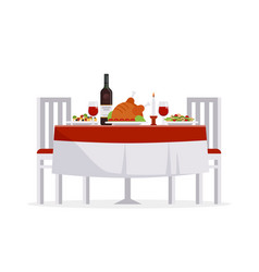 Table with tasty dishes and two chairs flat vector