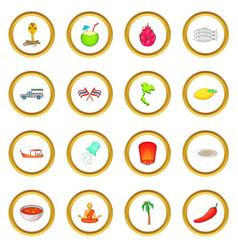 Thailand symbols icons circle vector