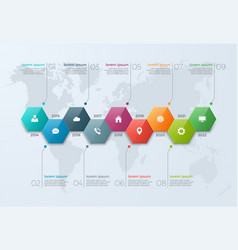 Timeline chart infographic template with 9 options vector