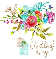 Watercolor Floral background with bird cages for vector image vector image