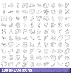 100 dream icons set outline style vector