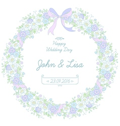 Floral ribbon wreath vector