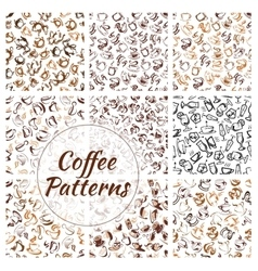 Natural coffee drinks seamless pattern set vector image