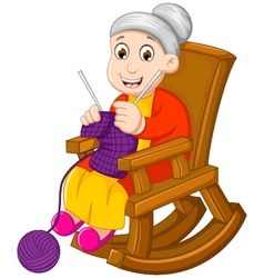 Funny grandmother cartoon knitting in a rocking ch vector
