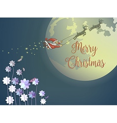 Butterfly and purple flower with flying santa and vector