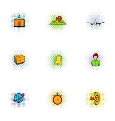 Transfer icons set pop-art style vector