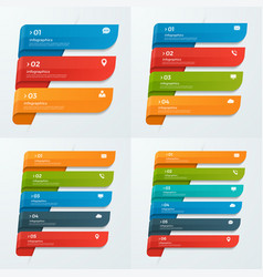 Infographic templates with ribbons 3-6 options vector