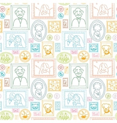 Family framed pictures seamless pattern background vector image