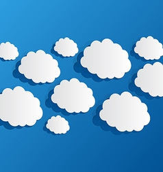 Set cut out clouds blue paper vector