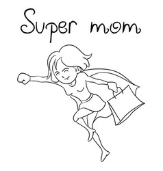 cute super mother hand draw vector image