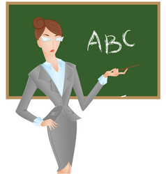 Female teacher at blackboard with pointer shows vector