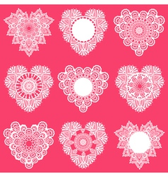 Set of lace hearts vector