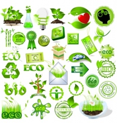 Eco and bio icons vector