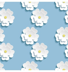 Modern background seamless pattern with 3d sakura vector image