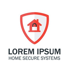 Home security with red shield and padlock vector