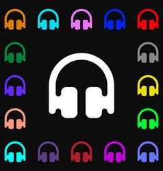 Headphones earphones icon sign lots of colorful vector