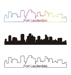 Fort lauderdale skyline linear style with rainbow vector