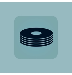 Pale blue disc pile icon vector