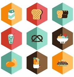 Fruit and beverage icons vector