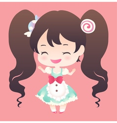 Cute sweet happy smile brown hair and twin tail vector