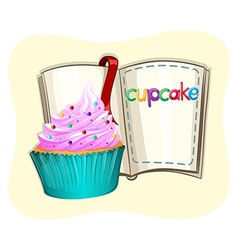 Cupcake with frosting and a book vector