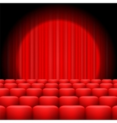 Red curtains with spotlight vector