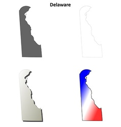 Delaware outline map set vector
