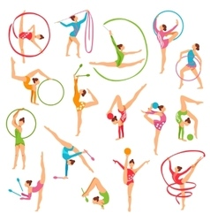 Set of color gymnast girl figures vector