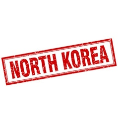 North korea red square grunge stamp on white vector