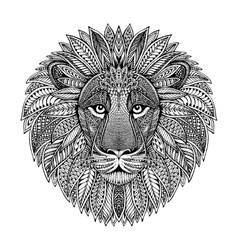 Hand drawn graphic ornate head of lion vector