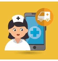 Nurse and ambulance isolated icon design vector