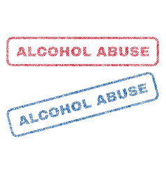 Alcohol abuse textile stamps vector